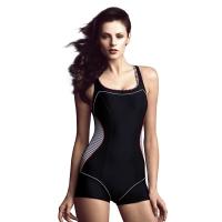 范德安/balneaire 黑色平角連體泳衣女專業競技游泳衣遮肚修身大碼女士保守泳裝60362 黑色 M
