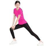 普为特POVIT 瑜伽服两件套 健身运动跑步服紧身上衣配九分裤 玫红XL