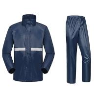 博沃尼克 单人反光分体电动车雨衣男女士成人骑?#24515;?#25176;车雨衣雨裤套装 藏蓝色