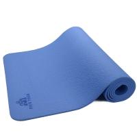 皮尔瑜伽TPE6mm防滑单色瑜伽垫蓝色 附带背包