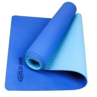 金牌(GOLD)瑜伽 6mmTPE双色瑜伽垫居家防滑健身垫 YJ-502浅蓝+深蓝(送网袋)