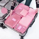 四万公里 旅行收纳袋防水行李分装整理包 出差衣物收纳整理袋内衣收纳包 6六件套装 SW1003 粉色