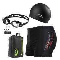 李寧 LI-NING 全能泳褲泳鏡泳帽收納包豪華套組 時尚大氣游泳裝備LSJK333 黑L