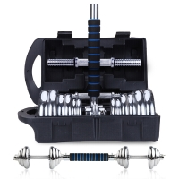 凯速KANSOON可拆装电镀哑铃20KG(10公斤*2)带蓝黑泡棉35cm连接杆立黑礼盒装拉丝杆