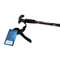 加加林DS26-3登山杖手杖步行杖6061铝合金舒适手柄内设避震系统三节T型柄  黑色