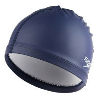 速比涛speedo 泳帽 PU材质柔软舒适 不勒头 长发防水游泳帽 男女士时尚海蓝11400792