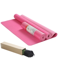 IKU 183MM*122MM双人环保瑜伽垫 6MM特宽TPE瑜珈垫享受瑜伽的和谐之美 玫红色