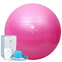 哈他瑜伽 65cm加厚防爆瑜伽球 塑形健身球含充气筒 粉色