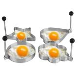 巴錫  加厚不銹鋼煎蛋器模型 荷包蛋創意煎雞蛋模具 四只套裝 黑色小號