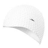 速比涛speedo 舒适泳帽 泡泡游泳帽 长发防水 时尚 帅气 均码男女士通用泳帽白色11400500