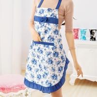 图跃(TUYUE)户外烧烤围裙可爱公主围裙防水加厚围裙家居厨房时尚围裙烘焙围裙 蓝色