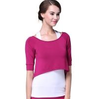 普为特POVIT 新款瑜伽服套装 健身舞蹈宽松灯笼裤 显瘦三件套赠胸垫 紫红 XXL