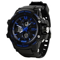 时刻美(skmei)手表运动户外跑步夜光电子表 0990蓝色大号