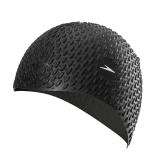 速比涛speedo 舒适泳帽 泡泡游泳帽 长发防水 时尚 帅气 均码男女士通用泳帽黑色11400599