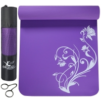 金啦啦瑜伽墊183*80cm加長加寬加厚運動健身墊 送網包 紫色茶花