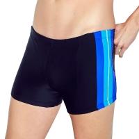 奇海男士泳裤平角舒适高弹力时尚温泉泳衣033-6加大款黑色XXL号