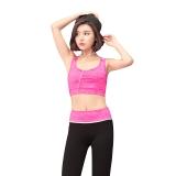 金啦啦春夏新款瑜伽服套装运动背心跑步健身服 玫红 S