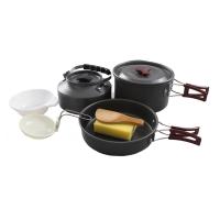 红色营地 户外锅具 野营套锅炊具 野餐厨具 2-3人套锅茶壶套装