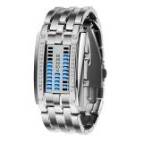 时刻美(skmei)手表户外运动时尚创意LED腕表 0926银色小号