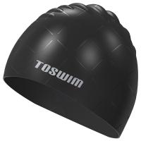 拓胜(TOSWIM)泳帽黑银系列游泳帽男女长发防水护耳硅胶泳帽个性舒适贵族黑