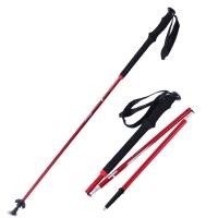 红色营地 登山杖折叠 户外手杖拐棍老年人拐杖 7075航空铝3节直握柄红色
