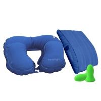 EPC travellight 充气旅行套装 充气腰靠 护腰垫 充气U型枕  户外便携 多功能枕头 飞机旅行枕 旅游用品 蓝色