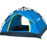 狼行者3-4人戶外自動帳篷 戶外防雨野營帳篷休閑帳篷 藍色