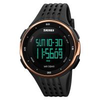 时刻美(skmei)运动手表户外多功能跑步电子表 1219玫瑰金色