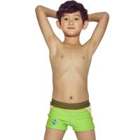 奇海儿童泳衣男童泳裤平角男孩大小童宝宝温泉泳装QH106111绿色L码