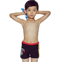 奇海儿童泳衣男童泳裤平角男孩大小童宝宝温泉泳装QH106146黑色M码