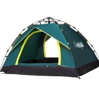 狼行者3-4人户外全自动帐篷 户外防雨野营帐篷休闲帐篷 墨绿色
