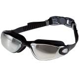 奇海平光镀膜泳镜男女通用大框游泳镜电镀 1103黑色送泳帽 比赛训练用