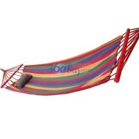 尚龍 專業戶外休閑露營 SL-S06Z 帶桿+枕頭彩條帆布吊床(含綁繩及帆布包)