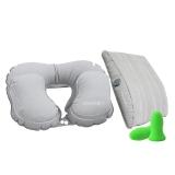 EPC travellight 充氣旅行套裝 充氣腰靠 護腰墊 充氣U型枕  戶外便攜 多功能枕頭 飛機旅行枕 旅游用品 淺灰