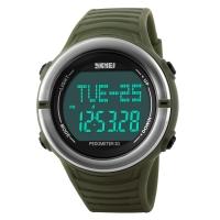 时刻美(skmei)运动手表户外多功能跑步测心率电子表 1111军绿色