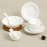 SKYTOP斯凯绨 碗盘碟碗筷陶瓷骨瓷餐具套装 20头白瓷