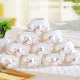 乐享  景德镇骨瓷餐具饭碗套装 韩式碗10件装 金粉世家