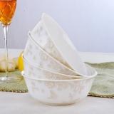 乐享 陶瓷碗6英寸骨瓷大面碗骨瓷饭碗套装4只微波炉 空谷幽兰