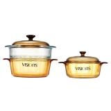康宁VISIONS 1.25L+2.25L晶彩透明锅蒸格三件套VS-120VSM/JD