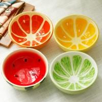 ?#26194;で山?陶瓷釉下彩儿童餐具手绘饭碗套装 可爱宝宝水果碗4只
