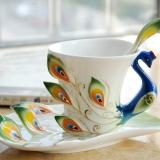 乐享 景德镇陶瓷 珐琅瓷浮雕蓝色孔雀咖啡杯套装