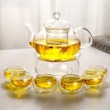 金鑲玉 玻璃茶具套組 花茶壺茶杯HP-01 手工耐熱耐高溫水具裝功夫茶具