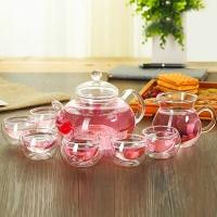 常生源 整套玻璃茶具套組 花茶壺 茶杯 水杯 一壺一公杯六水杯  高硼硅手工耐熱功夫茶具