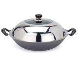 美厨(maxcook)精铸铁锅36cm TG-136(带盖 可用电磁炉 无涂层 可用铁铲)