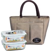 乐扣乐扣(LOCKLOCK) 玻璃饭盒 比得兔系列格拉斯保鲜盒套装+提袋 630ml两个装LLG428S902-PR