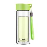 富光 耐热防烫便携提手水杯 男女士时尚 透明双层玻璃杯 草绿色 280ml (G1311-280)