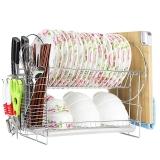 拜格BAYCO双层沥水架 家用多功能厨具碗碟架BX3826