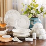 乐享 餐具套装陶瓷碗碟28头骨瓷盘微波炉适用 空谷幽兰