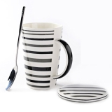瓷魂 韩式陶瓷情侣水杯大容量咖啡牛奶杯子带盖带勺马克杯套装 线生活POLO-A款