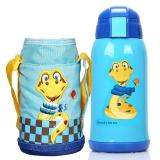 杯具熊 兒童保溫杯帶吸管 兒童水杯學生寶寶水壺男女 不銹鋼嬰兒保溫壺 升級款 600ml 藍色小蛇